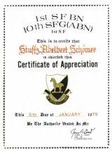 Dankurkunde Special Forces 1979