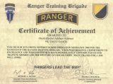 Dankurkunde US Ranger Trainings Brigade 2000
