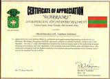 Certificate of Appreciation 1 BN 4th Inf