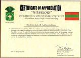Certificate of Appreciation 1 BN 4th Inf