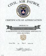 Certifikat of Appreciation of Civil Air Patrol