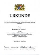 Bayerische Fluthelfer 2013  Dankurkunde