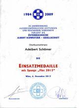 Albert Schweitzer Einsatzmedaille mit FLUT Spange