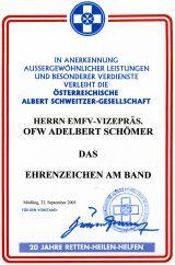 Albert Schweitzer Gesellschaft Ehrenzeichen am Ban