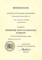 Urkunde Feuerwehr Leistungsabzeichen