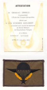 Brevet Militaire Parachutisme ID
