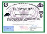 Urkunde US Army Fallschirmsprungabzeichen